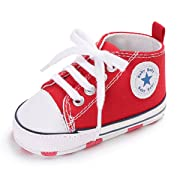 Unisex Baby Girls Boys Canvas Shoes Soft Sole Toddler First Walker Infant Sneaker Newborn Crib Shoes(Red,6-12Month)
