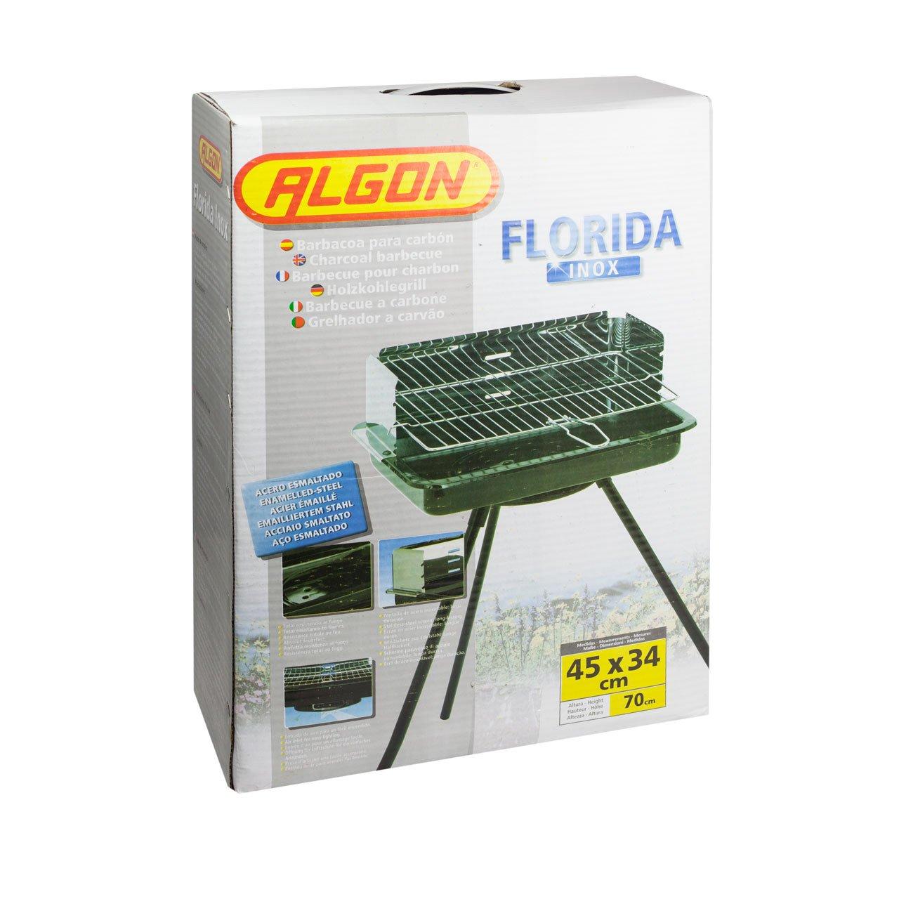 Algon Barbacoa Florida Inox - 45 x 34 cm, altura 70 cm, color negro: Amazon.es: Jardín