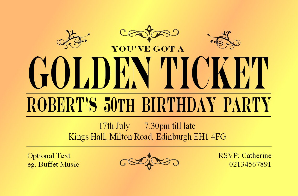 40 GOLDEN TICKET BIRTHDAY INVITATIONS Personalised for You. Card 18th 21st 30th 40th 60th Birthday. Adult Personalised Party Invites with Envelopes. The Save the Date People