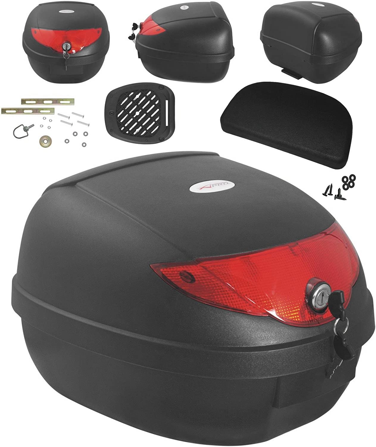 Moto Scooter Top Case 28L Universel Plaque Adaptable Bagage Valise evec Dossier