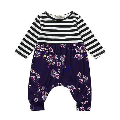 b443ff0c2 Memela Baby Girls Cotton Stripe Floral Jumpsuit Infant's Wear 0-18 Mos Buy  The Outfit