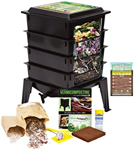 """Worm Factory 360 Worm Composting Bin + Bonus """"What Can Red Wigglers Eat?"""" Infographic Refrigerator Magnet (Black) - Vermicomposting Container System - Live Worm Farm Starter Kit for Kids & Adults"""