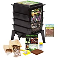 "Worm Factory 360 Worm Composting Bin + Bonus ""What Can Red Wigglers Eat?"" Infographic Refrigerator Magnet (Black) - Vermicomposting Container System - Live Worm Farm Starter Kit for Kids & Adults"