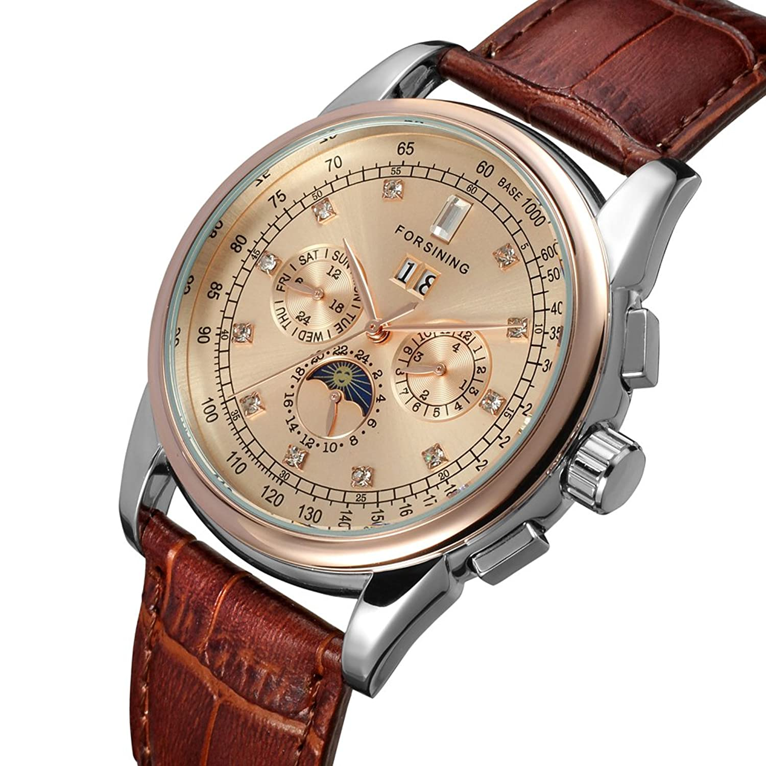 moon rose mens genuine shanghai product phase brand forsining lunar leather watches brown case gold movement strap top