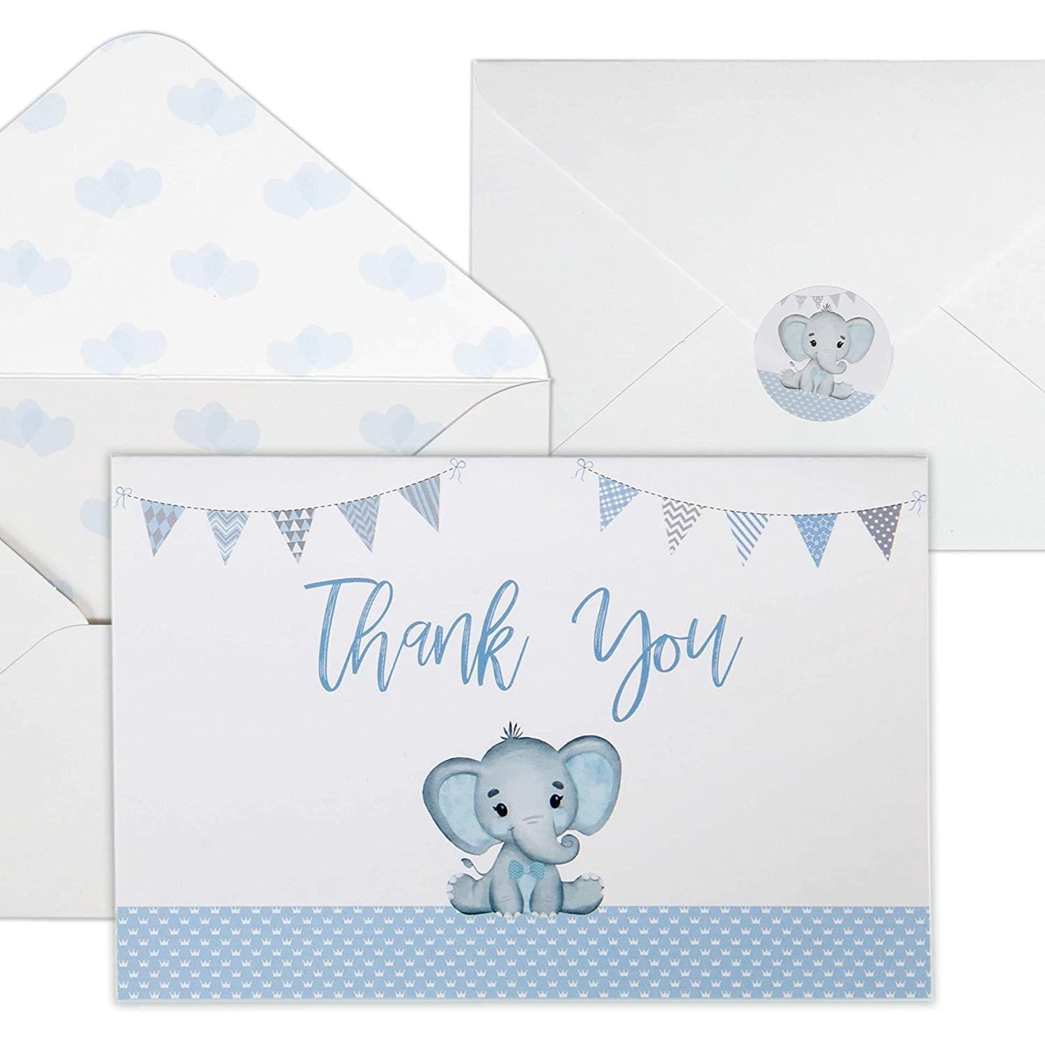 Baby Shower Thank You Cards for Boys. 50 Pack Blue Watercolor Elephant Boys Baby Shower Cards. Cute Thank You Notes with Envelopes Stickers