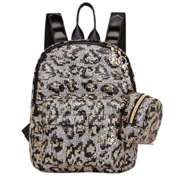 58cb225d321f Amazon.com : ❤ Sunbona Schoolbag Women Girl Sequin Leopard Print ...