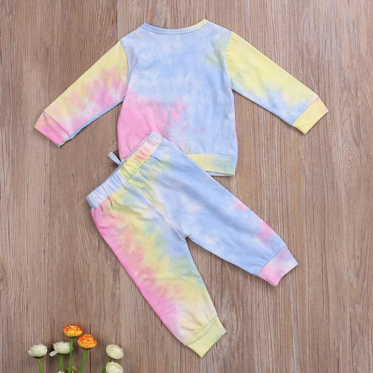 Toddler Kids Unisex Little Girls Boys Clothes Tie Dye Pajama Set Snug-fit Sleepwear Lounge Wear Fall Outfit