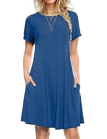 43b09eb0af I2CRAZY Women s Short Sleeve Pockets Casual Plain T-Shirt Loose Dresses(04-Short  Sleeve-Royal Blue