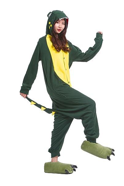 YUWELL Kigurumi Pijamas Adulto Anime Cosplay de Halloween Traje Outfit Traje Disfraz Halloween, Cocodrilo verde