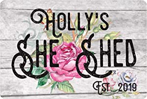 She Shed Personalized Durable Metal Sign Use Indoor/Outdoor Vintage Wood Sign Wall Decor for Woman Cave Moms Gift