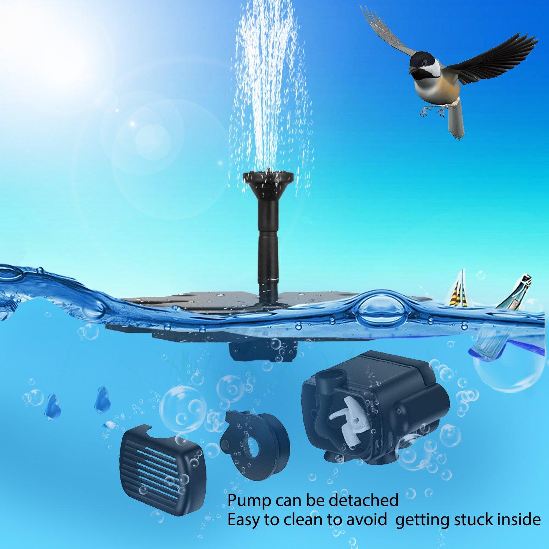 AMYER Solar fountain,solar fountain pump for bird bath, 1.5W solar panel kit water pump,water fountain pump for pond,pool,garden,fish tank,aquarium
