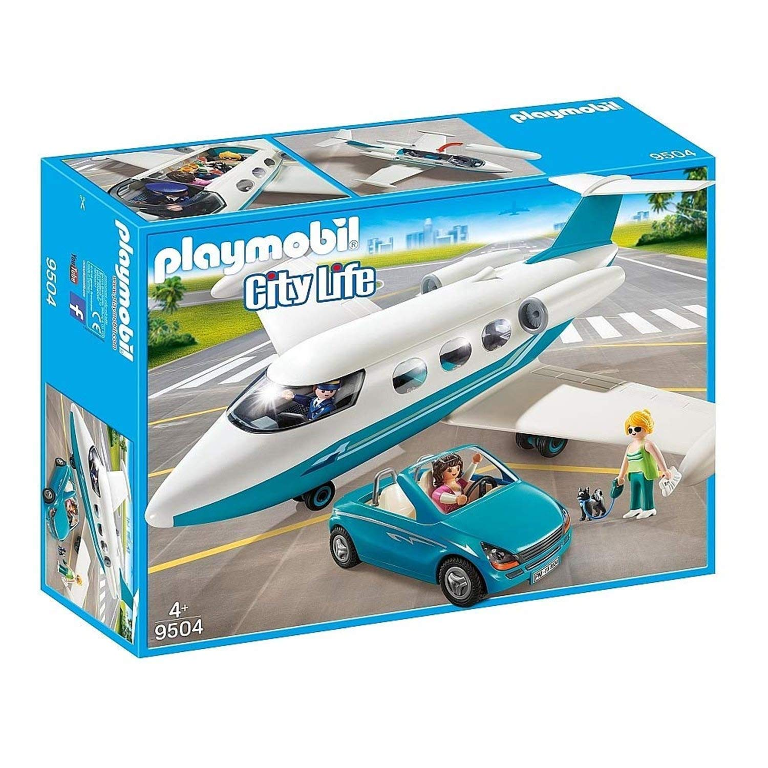 PLAYMOBIL/® 9406 Pilot and Two Guest Executive Business Jet with Car and Dog