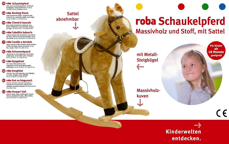 Schaukelspielzeug mit Sound ab 24 Monate roba Schaukelpferd Hoppe Reiter Schaukeltier mit Polsterung Schaukelsitz mit Steigb/ügel und Sattel