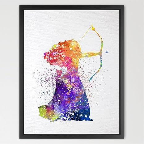 dignovel Studios valiente Merida acuarela ilustración arte impresión niños acuarela impresión Nursery Decor Kids Art Print