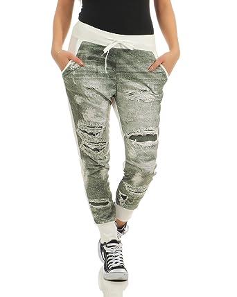 ZARMEXX Pantalon léger pour Femme Pantalon léger avec imprimé Jogger Baggy  (Blanc-Vert 61f1b80ae04