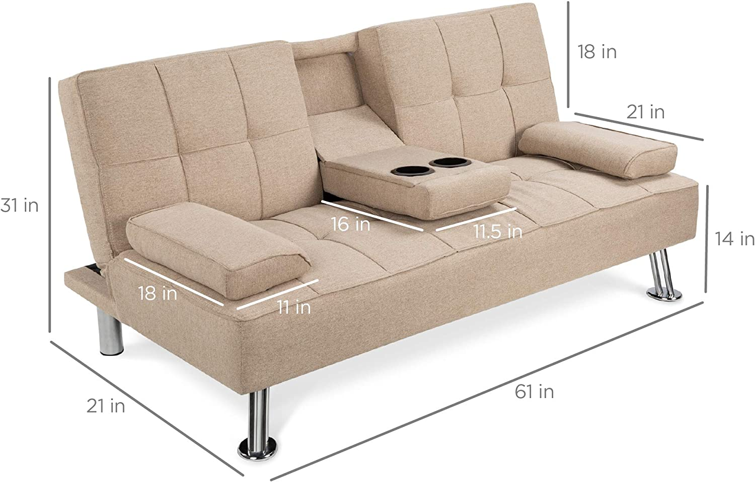 2 Cupholders Best Choice Products Modern Linen Convertible Futon Sofa Bed w//Metal Legs Beige