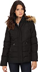 LARRY LEVINE Womens Short Down with Faux Fur Hood