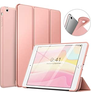 MoKo Case Fit iPad Mini 3/2/1, Slim Smart Shell Stand Folio Case with Soft TPU Back Cover Compatible with iPad Mini 1/Mini 2/Mini 3, Auto Wake/Sleep - Rose Gold