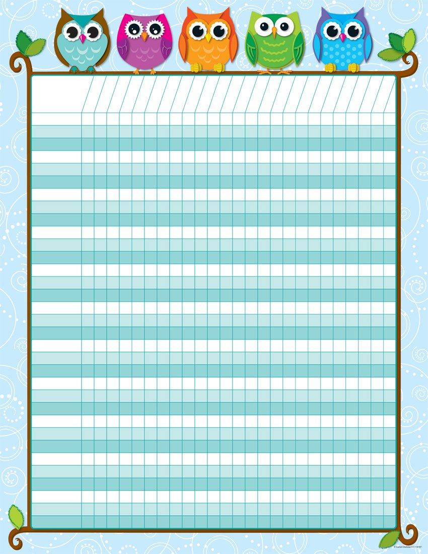 Amazon.com : Carson Dellosa Colorful Owls Incentive Charts (114197) :  Teacher Incentive Charts : Office Products  Incentive Chart Template