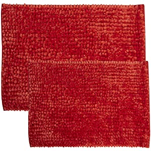 Sweet Home Collection Bathroom Rugs Set 2 Piece Butter Chenille Noodle Soft Luxurious Absorbent Non Slip Latex Back Microfiber Bath Mat Red