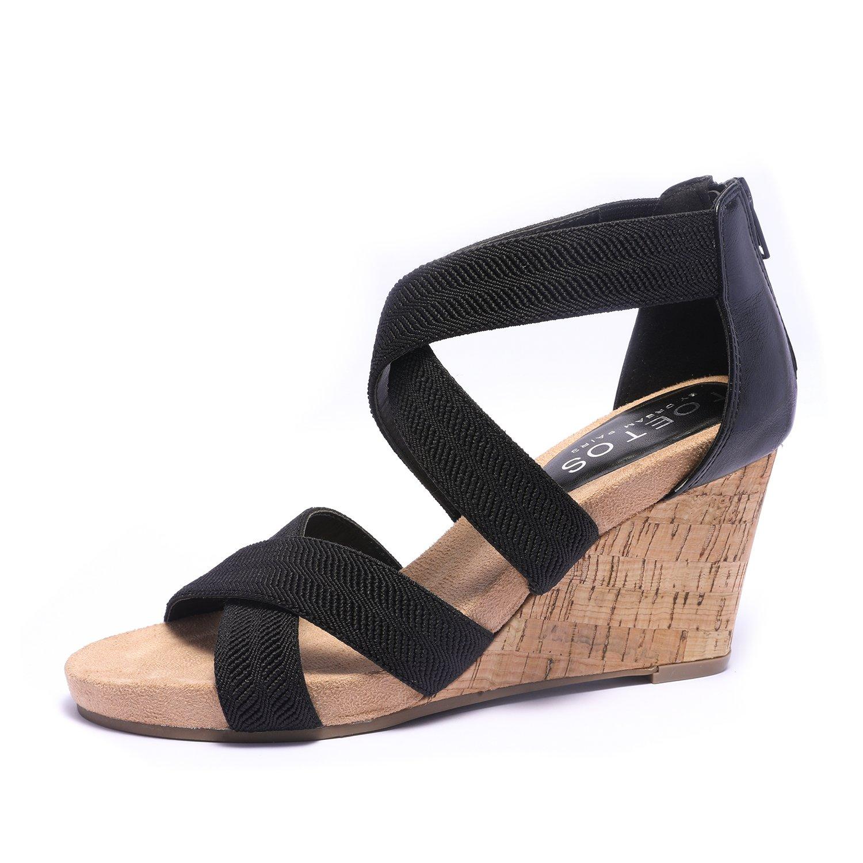 TOETOS Women's Solsoft_15 Black Low Platform Wedges Back Zipper Sandals Size 6 B(M) US
