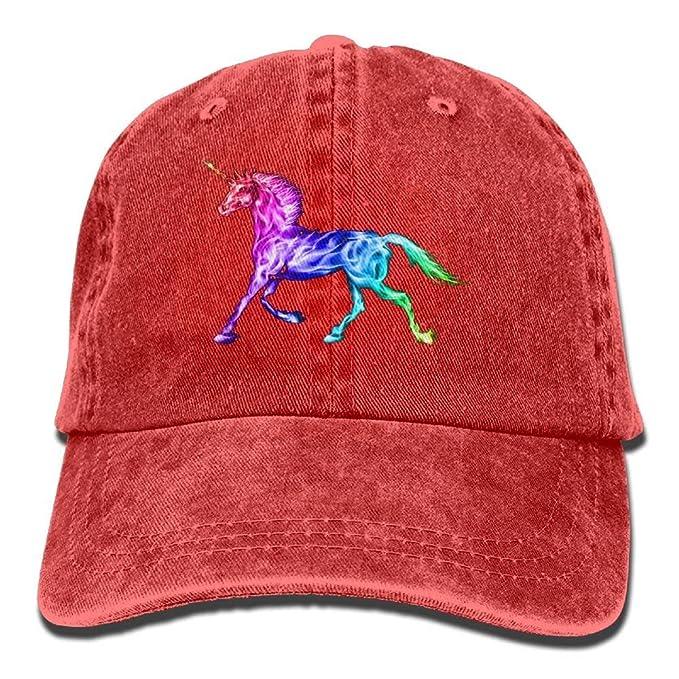 Gorras de béisbol Animales Unicornio Visera Curvada Sombrero de Vaquero para Hombres y Mujeres Rojos: Amazon.es: Ropa y accesorios