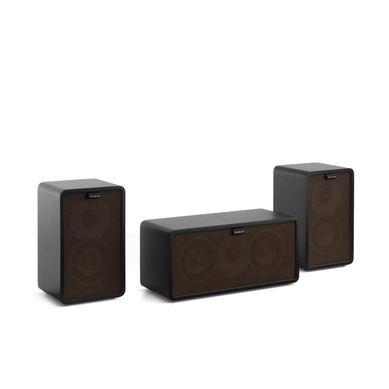 TALLA Cubierta marrón oscuro. NUMAN Retrospective 1979-S 3.0 Sistema de Sonido HiFi (300W de Potencia, diseño Retro, Altavoz Centra, Altavoces de estantería, subwoofer Incluido) - Negro con Cover marrón Oscuro