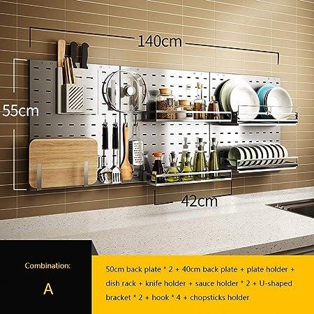 La cocina Estante de almacenamiento 304 Cocina de acero inoxidable Plato montado en la pared Condimento Utensilios de cocina multiusos Utensilios de cocina Estantes para almacenamiento Estante Almacen: Amazon.es: Hogar