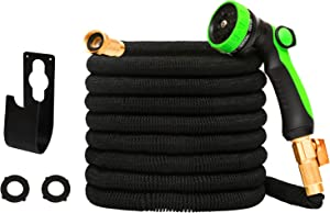AUTENPOO Expandable Garden Hoses 50 ft, Flexible Outdoor Water Hoses for Yard and Car Wash Retractable Flex Hose with Durable 3-Layers Latex and 8 Function Nozzle