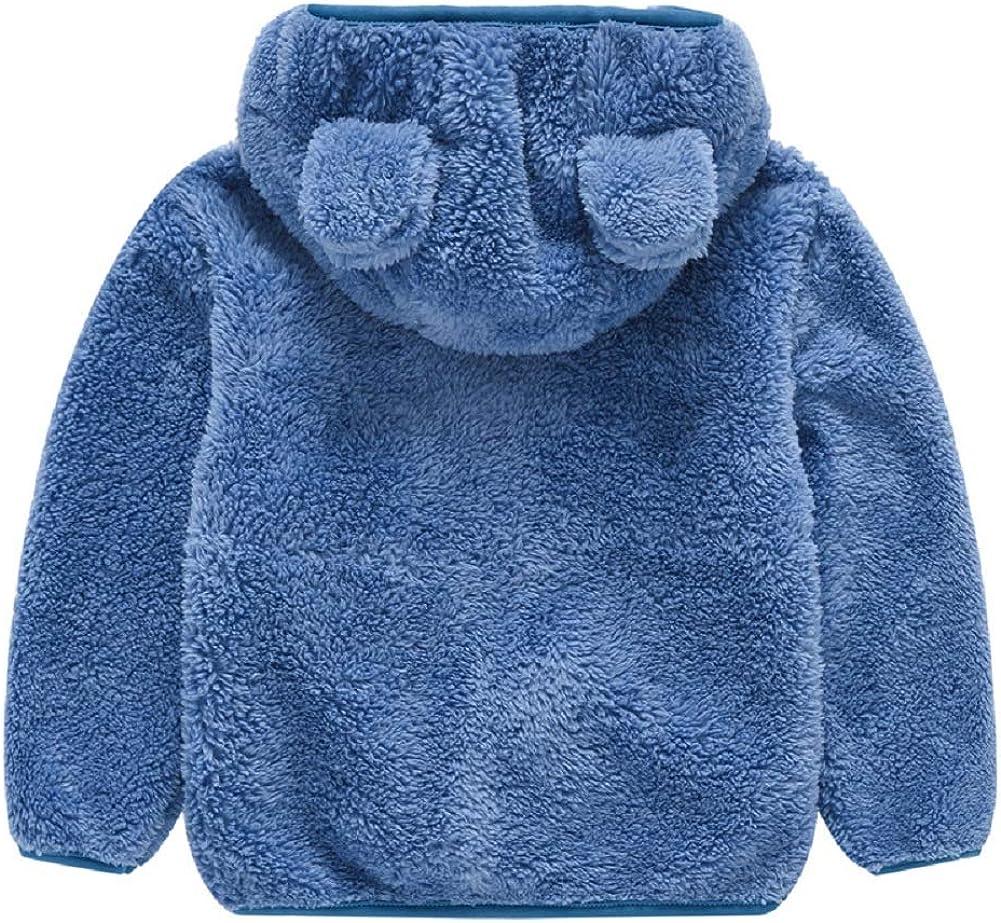Toddler Girls Boys Fleece Hoody Jacket Zip Up Teddy Coat Warm Winter Outwear