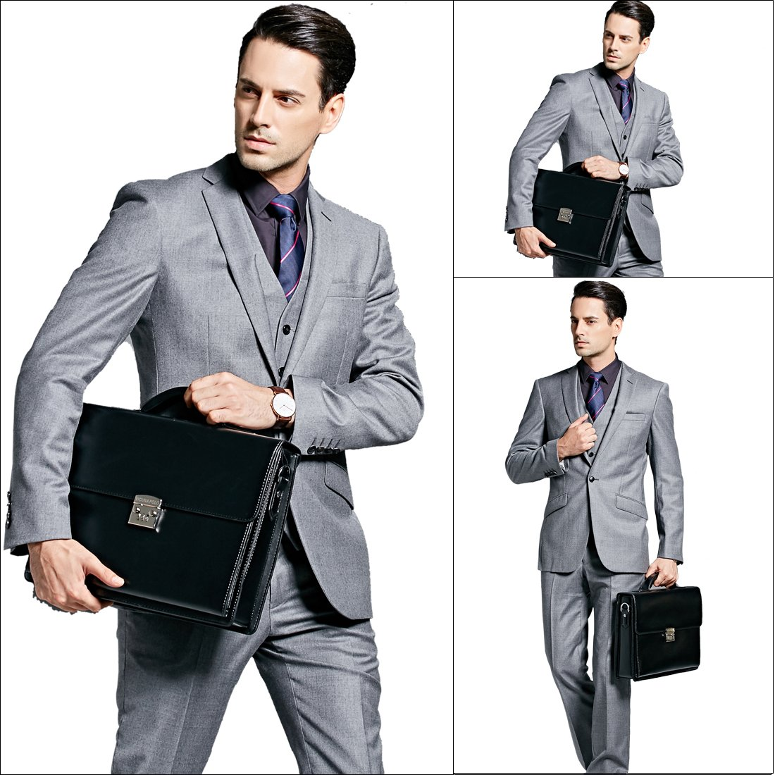 VICUNA POLO Briefcase For Men Handbag Business Man Bag Laptop Bag With Code-Lock (black) by VICUNA POLO (Image #7)