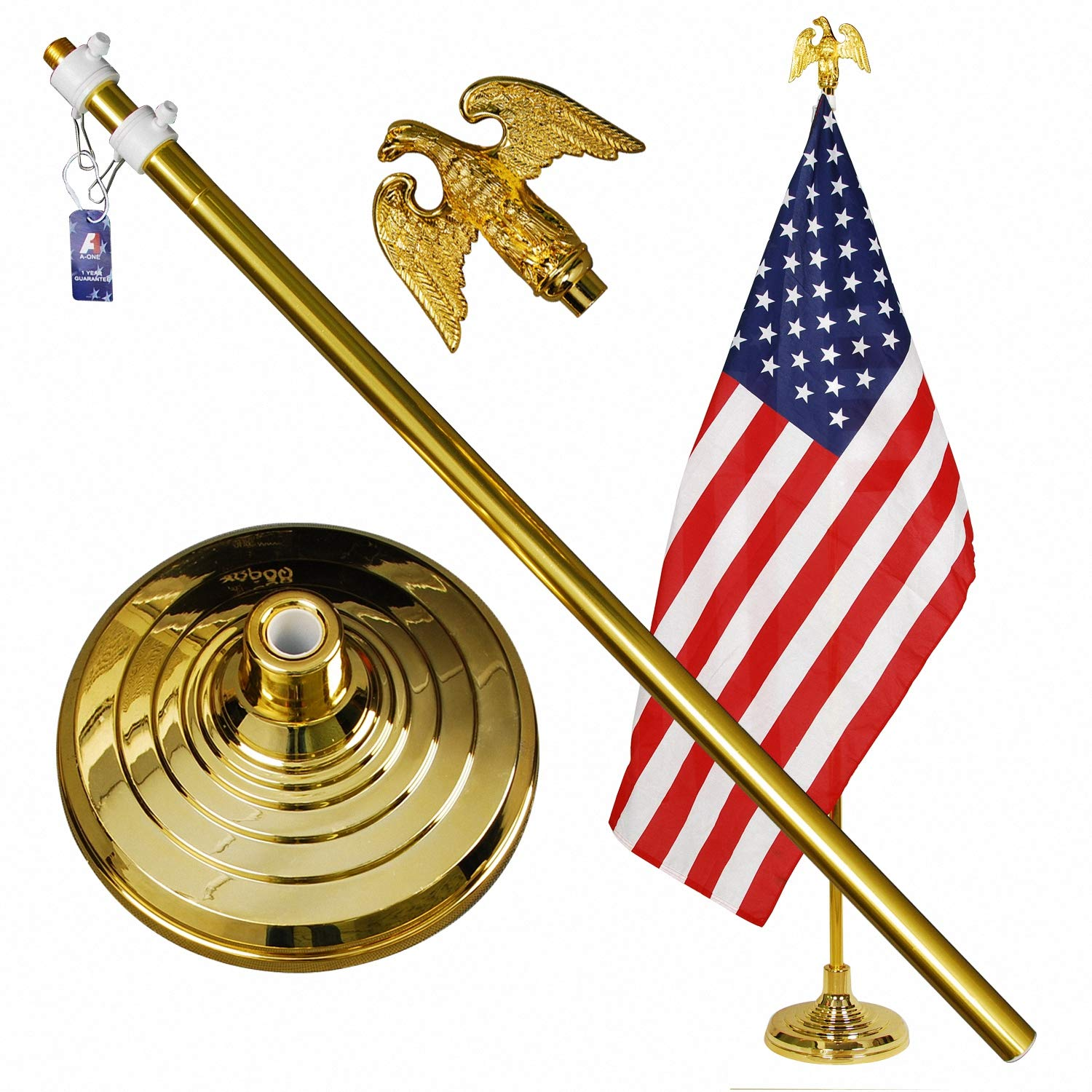 A-ONE 8FT Telescopic Indoor Flagpole Kit, Heavy Duty US Telescoping Aluminum Flag Pole with Base Stand and Gold Eagle Topper Ornament, Golden