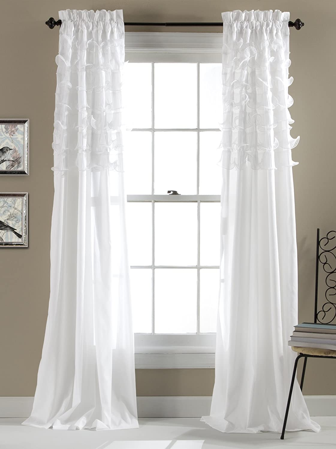 Lush Decor Avery Curtains Ruffled Shabby Chic Style Window Panel Set for Living, Dining Room, Bedroom (Pair), 84 by 54-Inch, White