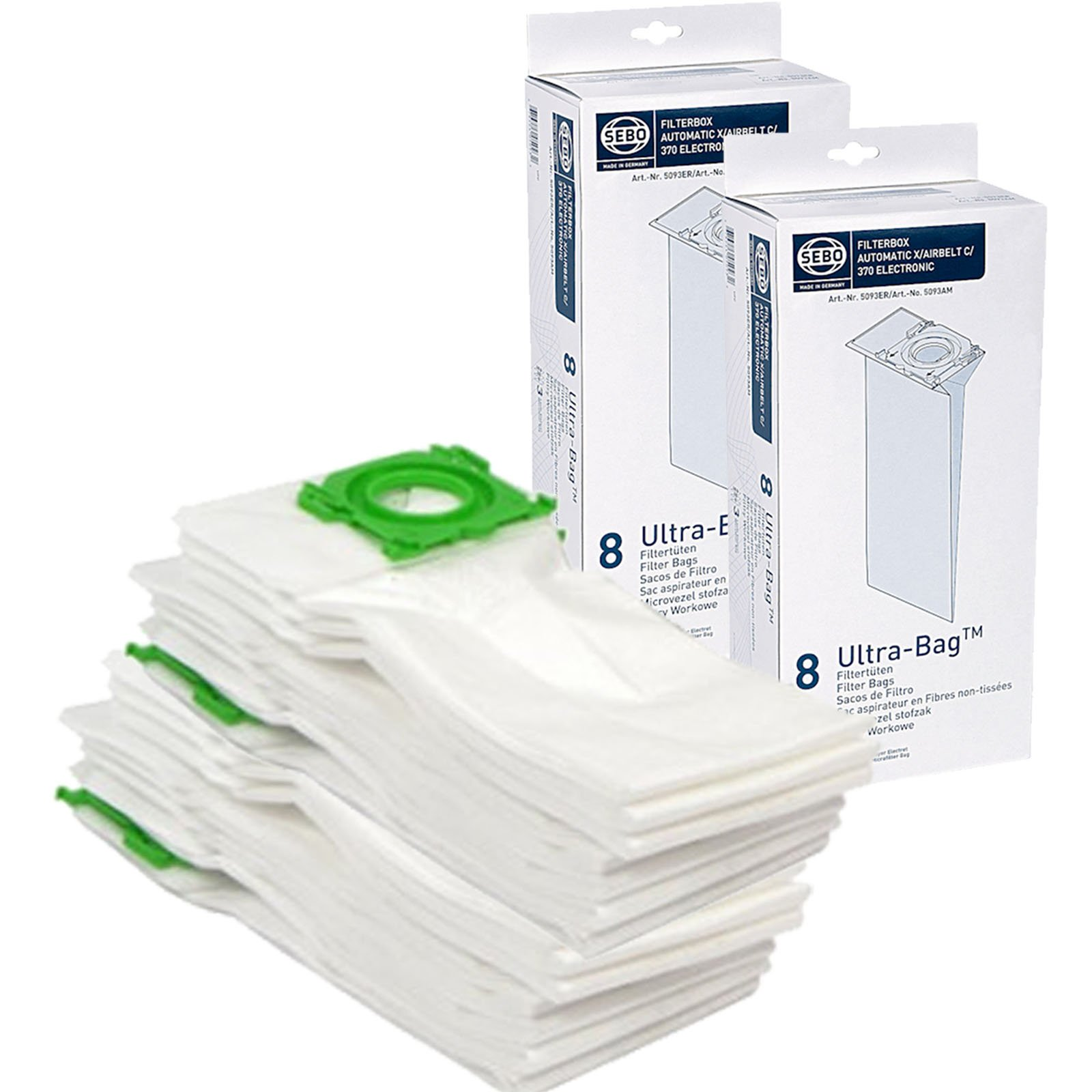SEBO X1 X2 X3 X4 X5 Extra Pet XP2 XP3 5093ER Vacuum Cleaner Dust Bags Pack Of 16