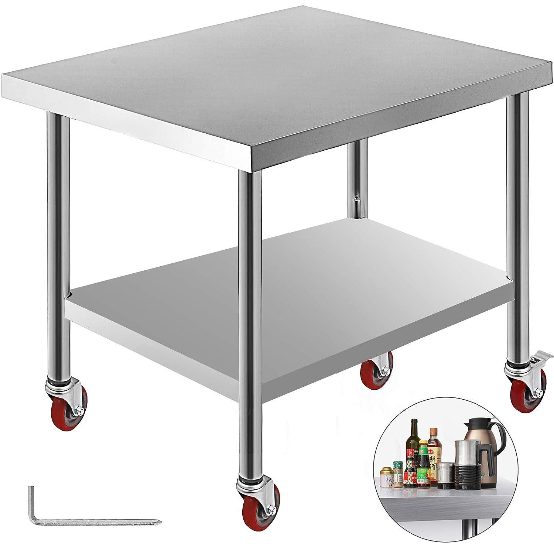 BuoQua Mesa de Trabajo de Cocina 4 Ruedas 762 x 915 mm Mesas de ...