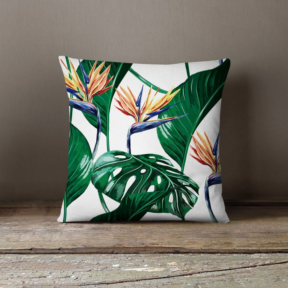 American Pillow Flamingoes and Palm Leaf Modern Art Cotton Linen Pillowcase Comfortable Cushions Decorative Pillows Home Decor Sofa Throw Pillow Cover 17.7*17.7 inches Lvyang