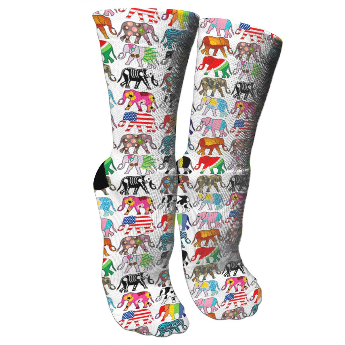Flags Of Various Countries Elephant Casual Cotton Crew Socks Cute Funny Sock,great For Sports And Hiking