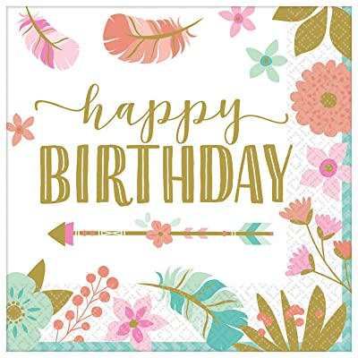 Amscan Boho Birthday Girl Beverage Napkins: Toys & Games