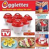 Egglettes–cuoci-uova duro & morbido Maker, n. di silicone, antiaderente, in camicia, sode, vapore, come visto in TV.