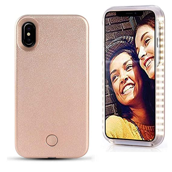 first rate 6aa09 875ca VANJUNN iPhone X Xs Selfie Light up Led Case Illuminated LED iPhone X Xs  Case Rose Gold