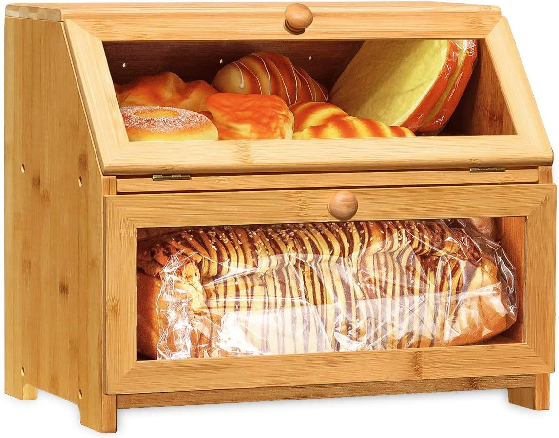 Double Layer Bread Box for Kitchen Counter, Natural Bamboo Bread Bin with 2 Clear Windows, Large Capacity Countertop Bread Storage Container, Food Holder(Self-Assembly)