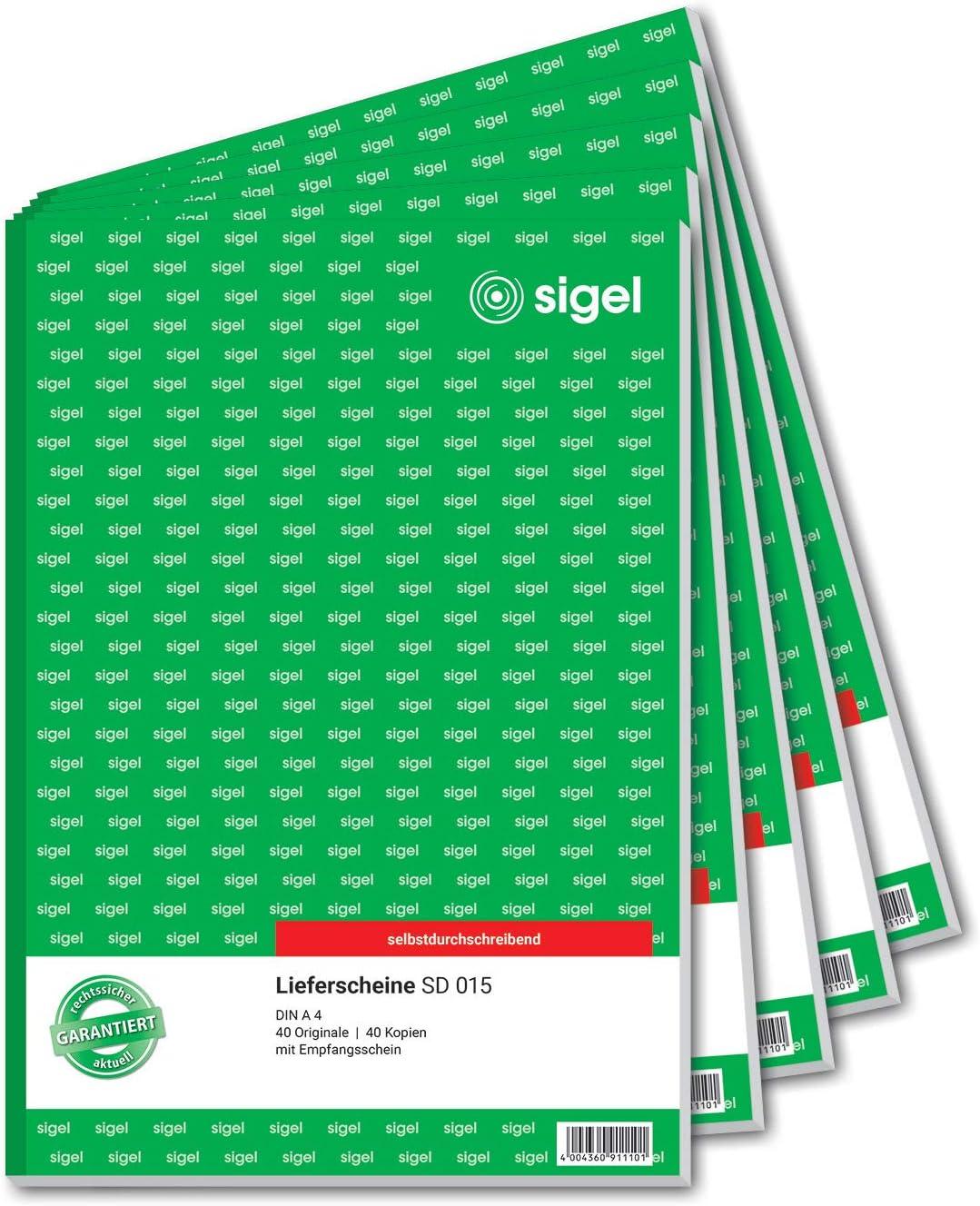 Sigel Sd015 5 Lieferscheine A4 2x40 Blatt Selbstdurchschreibend 5er Pack Bürobedarf Schreibwaren