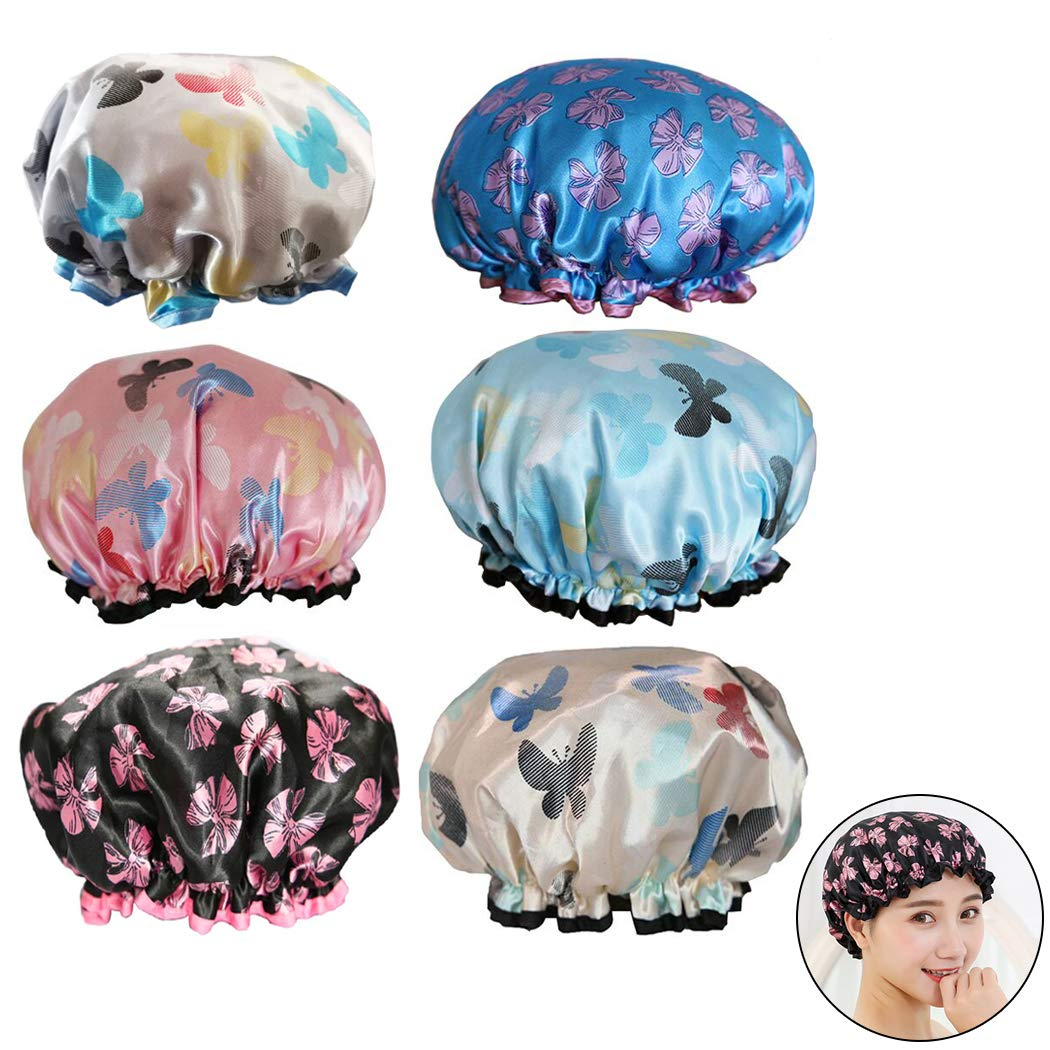 6Pcs Assorted Satin Shower Caps, Creatiees Waterproof Elastic Band Bath Cap Bathing Hair Cap Kitchen Cap with Double Layer for Adults(Butterfly Style)
