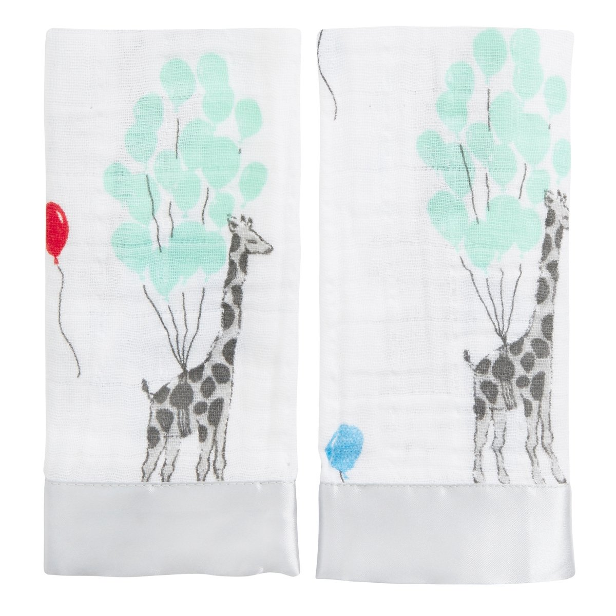 aden + anais issie security blanket, 100% cotton muslin with satin trim, 40cm X 40cm, 2 pack, dream ride Aden and Anais 7518G