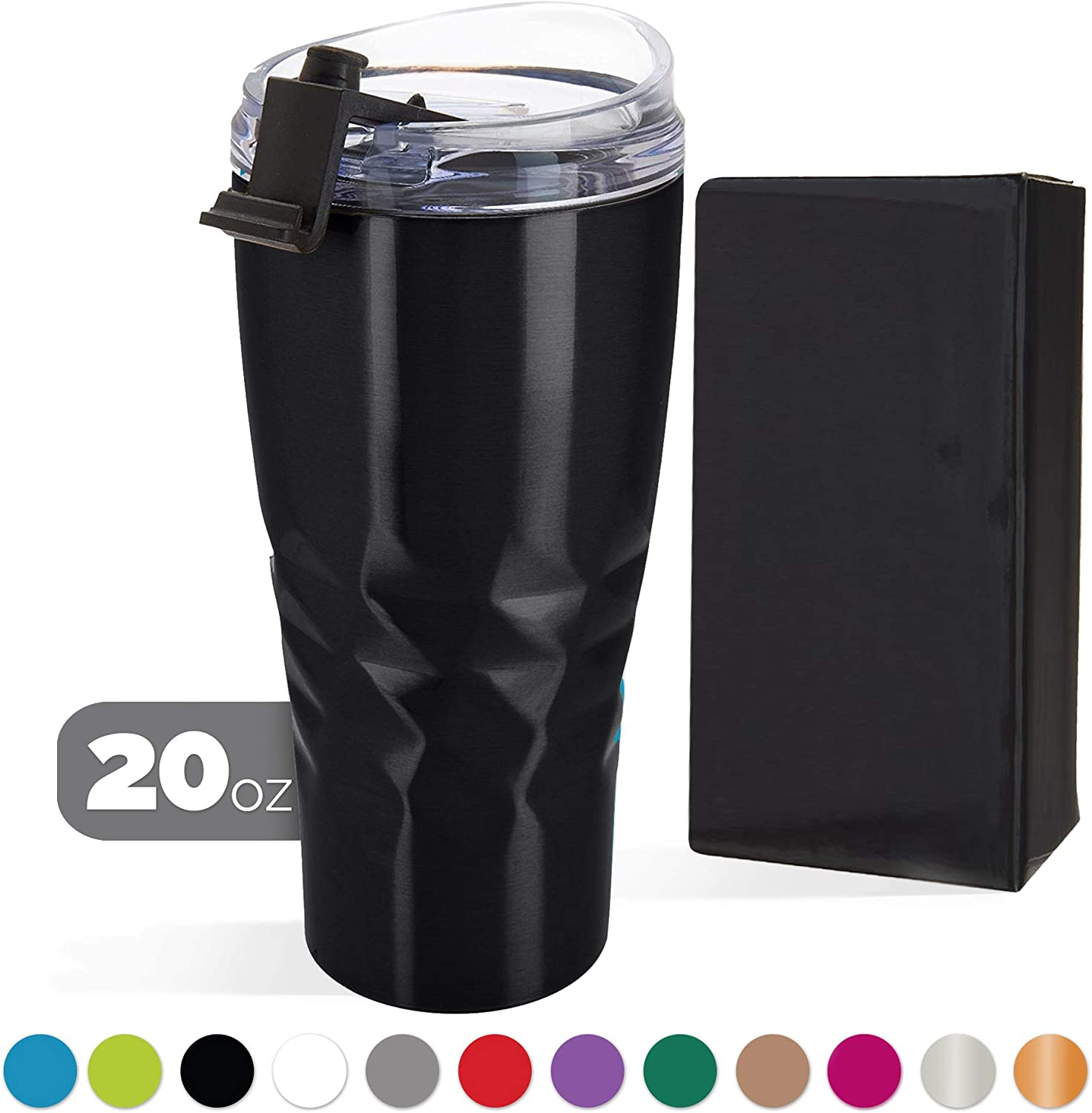 Primula Peak Hot or Cold Vacuum Sealed Triple Layer Copper Technology Tumbler with Matching Color Gift Box, 20 Ounce, Black
