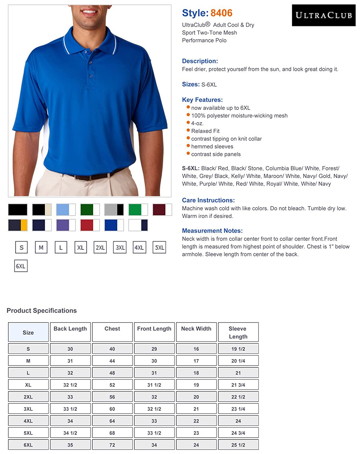 UltraClub Adult Relaxed-Fit Two-Tone Mesh Polo Shirt