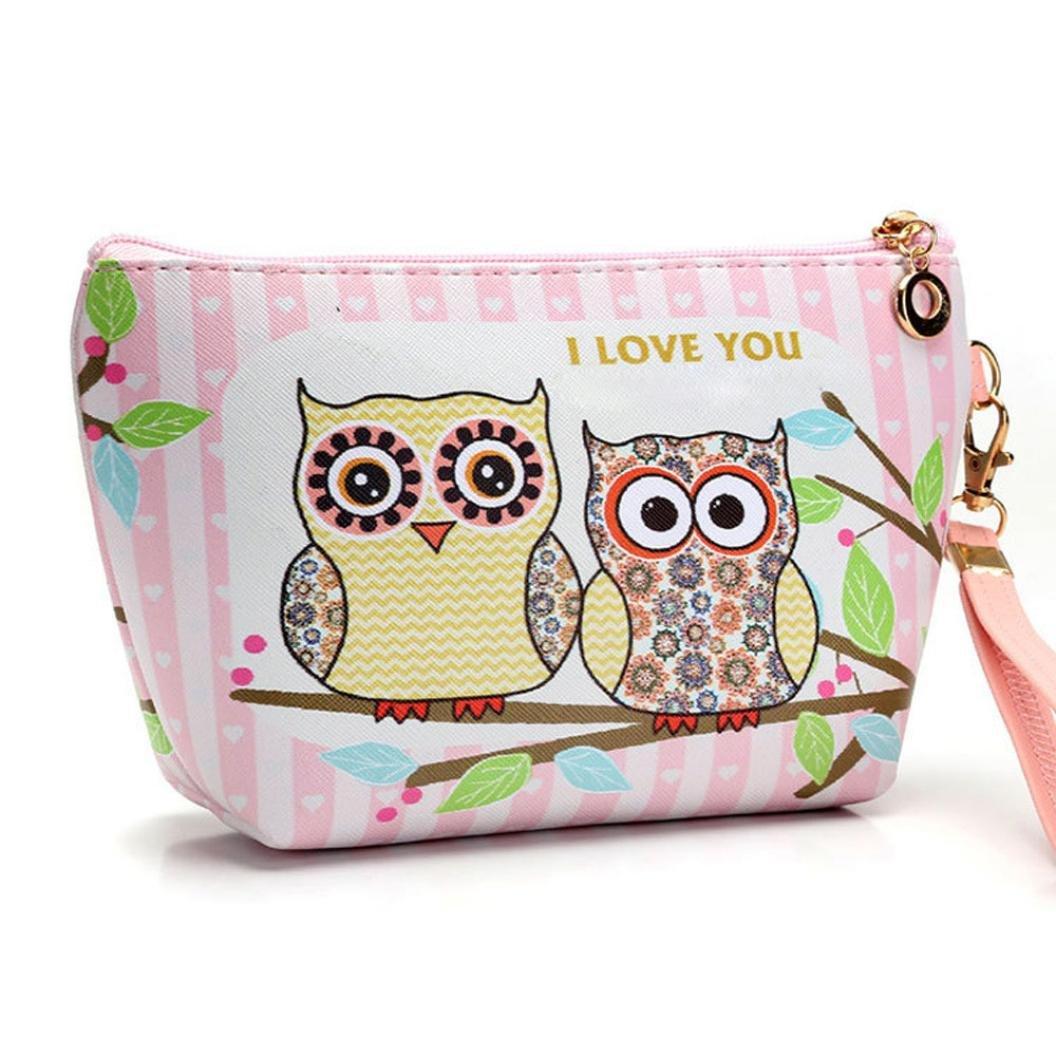Portable Owl Cosmetic Case Pouch, Keepfit Travel Makeup Clutch Bag Zipper Toiletry Organizer Handbag Casual Purse (12.5cm x 16cm x 7cm/4.9'' x 6.3'' x 2.8'', A)