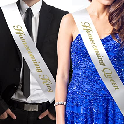 RibbonsNow Homecoming King and Homecoming Queen Sash Set (King & Queen) – Made in
