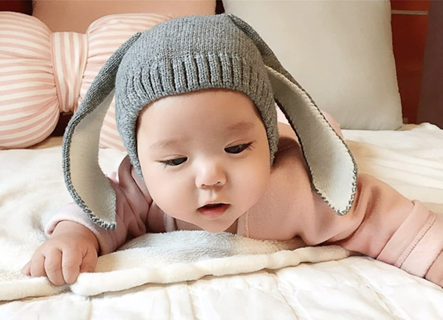 WSLCN Unisex Baby Toddler Kids Thickening Knitted Rabbit Ear Beanie Hat Bunny Ear Cute Cap Winter Warm for 3-18 Months Pink