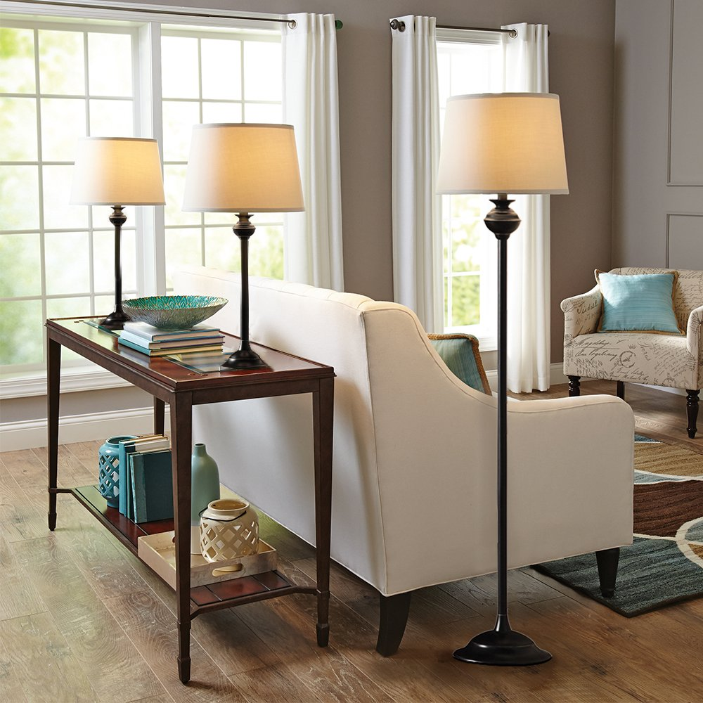Catalina Lighting 18079-001 Traditional 3-Piece Metal Floor & Table Lamp Set with Linen Shades, Without Bulb, Black Classic by Catalina Lighting (Image #2)